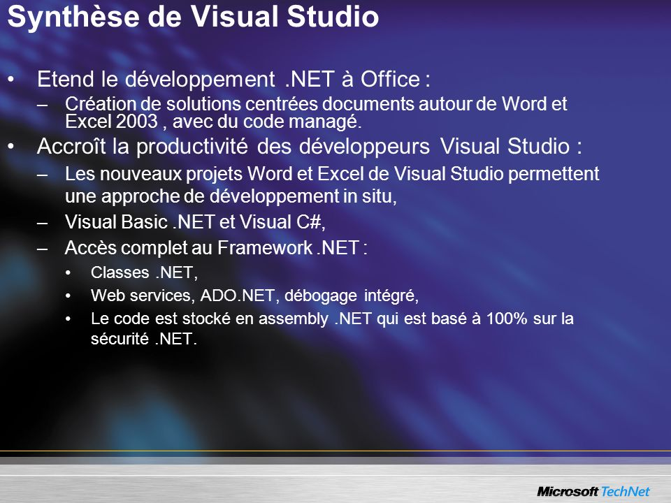 Synthèse de Visual Studio