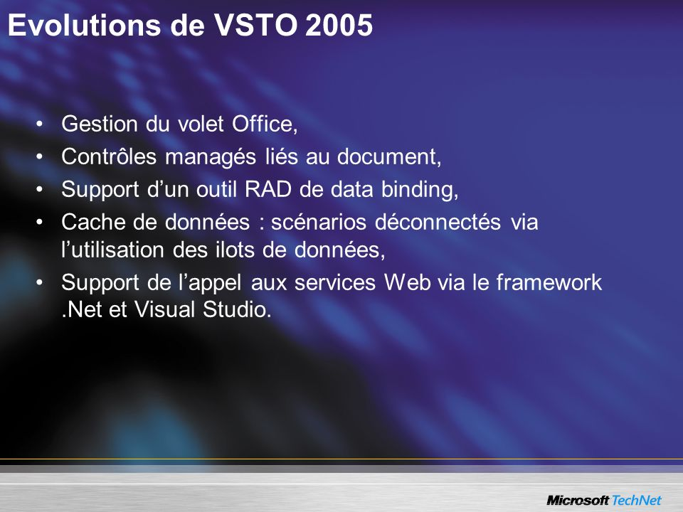 Evolutions de VSTO 2005 Gestion du volet Office,