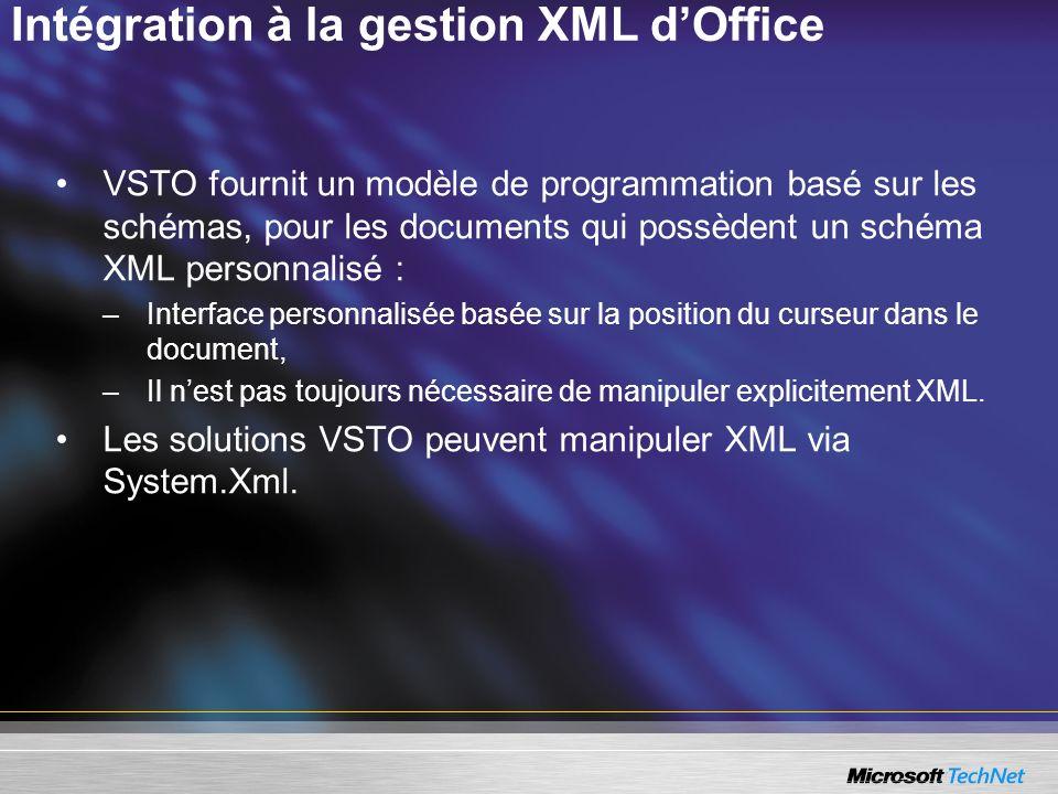 Intégration à la gestion XML d'Office