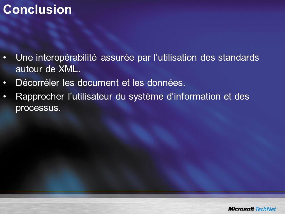 ConclusionUne interopérabilité assurée par l'utilisation des standards autour de XML. Décorréler les document et les données.