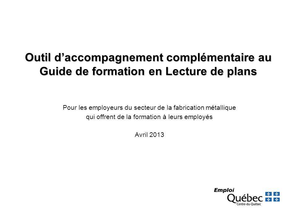 Outil d'accompagnement complémentaire au Guide de formation en Lecture de plans