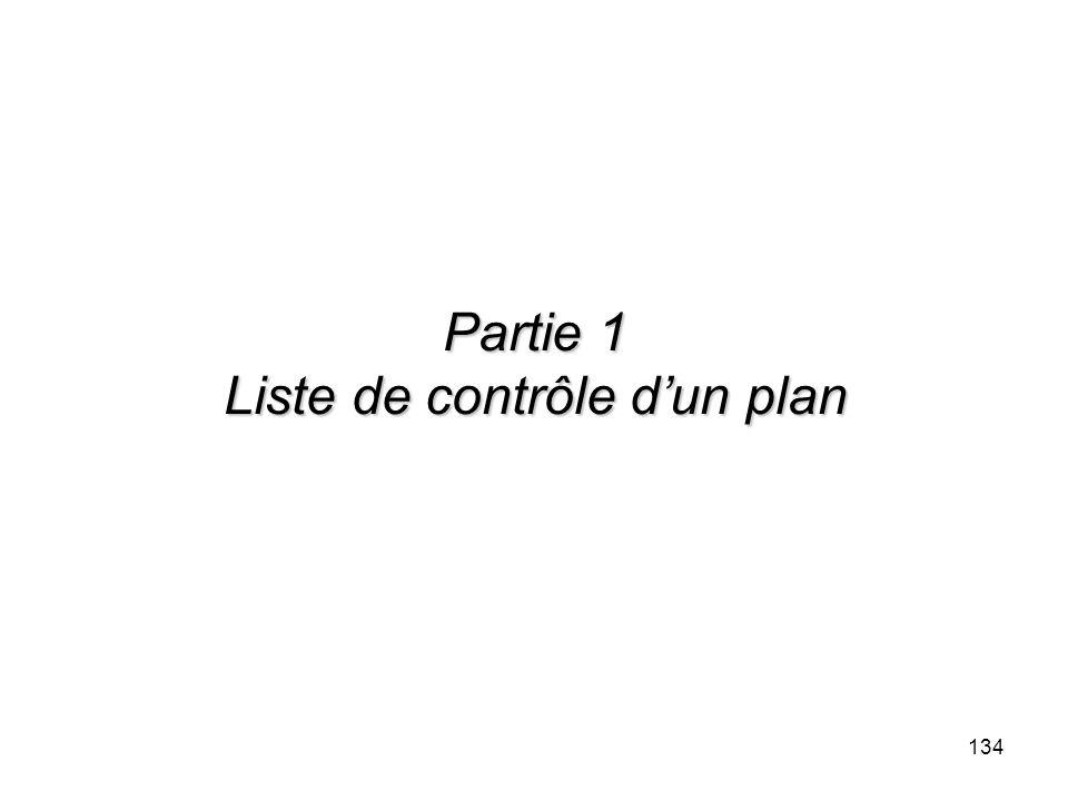 Partie 1 Liste de contrôle d'un plan