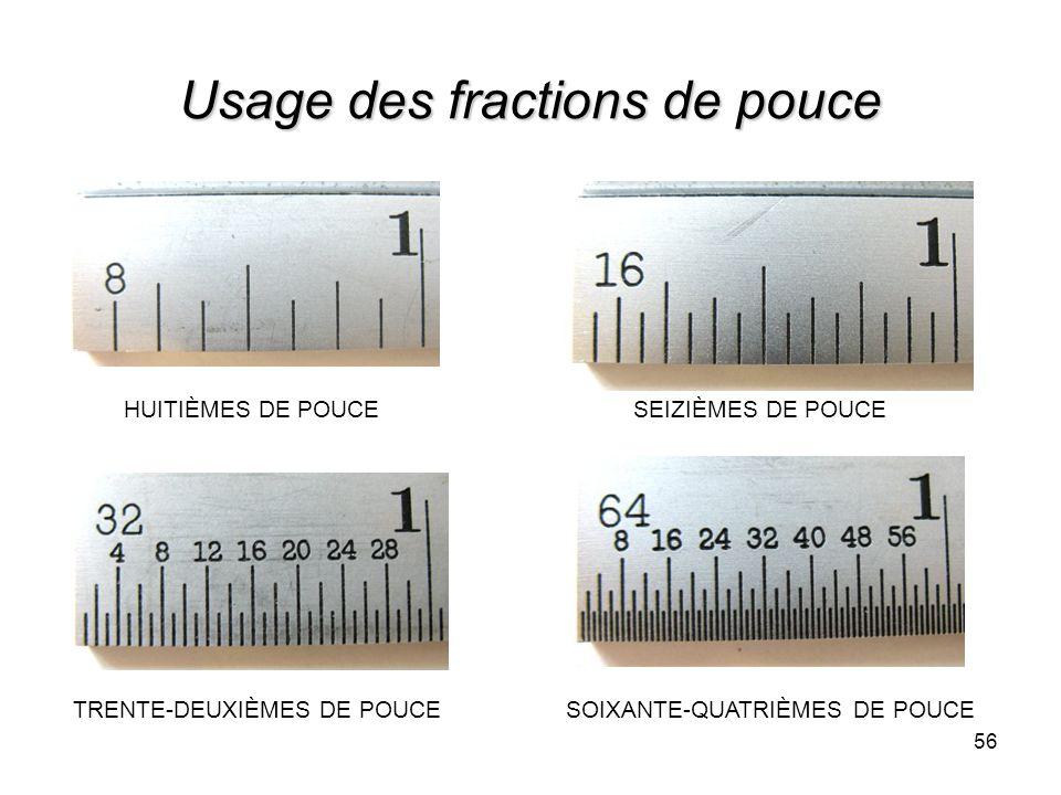 Usage des fractions de pouce