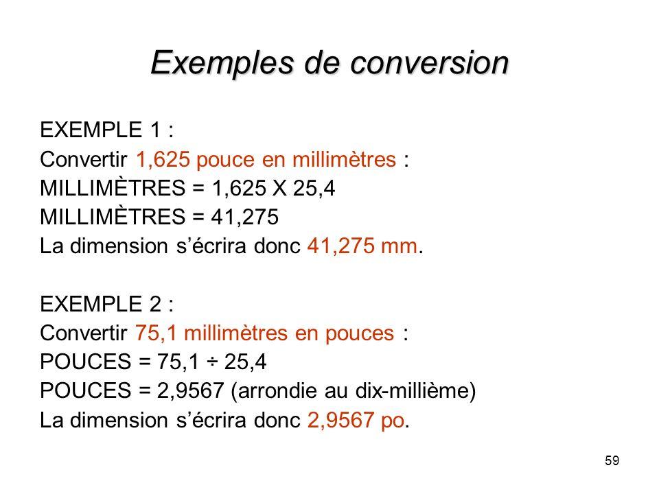 Exemples de conversion