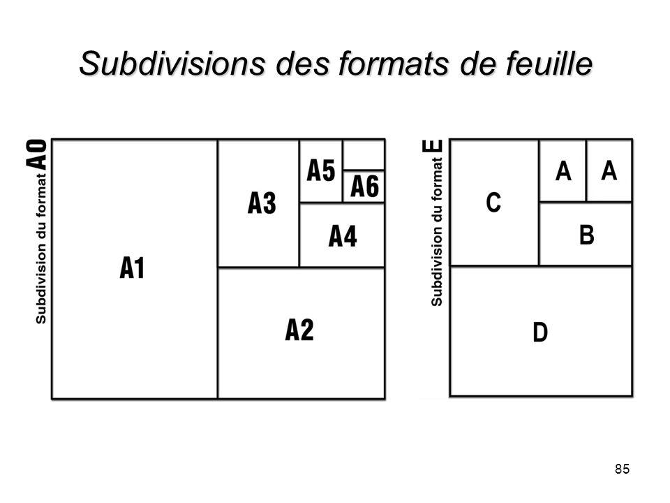 Subdivisions des formats de feuille