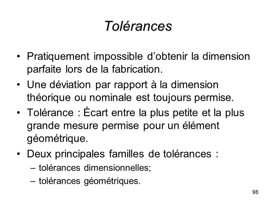 Tolérances Pratiquement impossible d'obtenir la dimension parfaite lors de la fabrication.