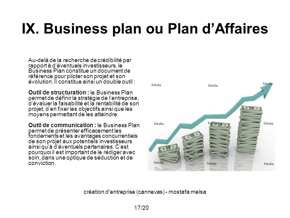 IX. Business plan ou Plan d'Affaires