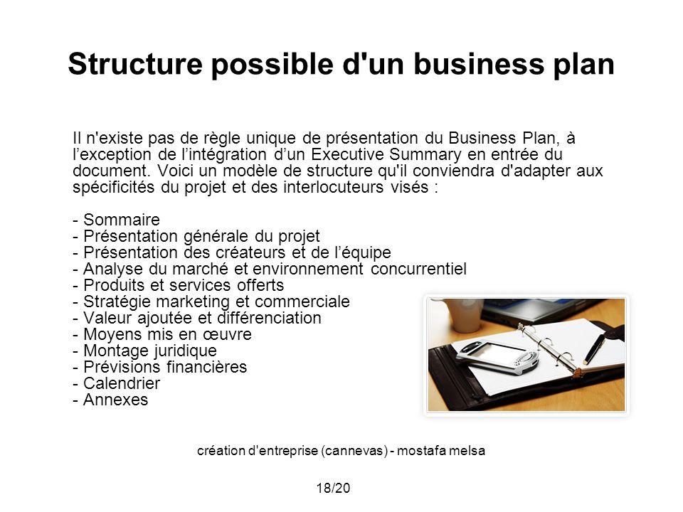 Structure possible d un business plan