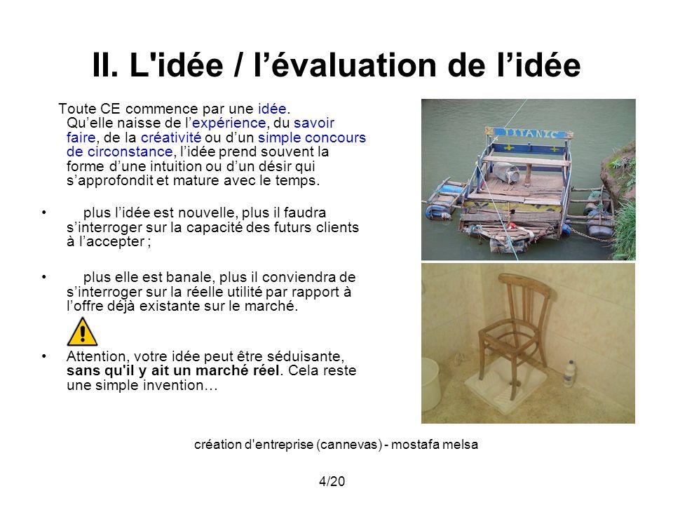 II. L idée / l'évaluation de l'idée