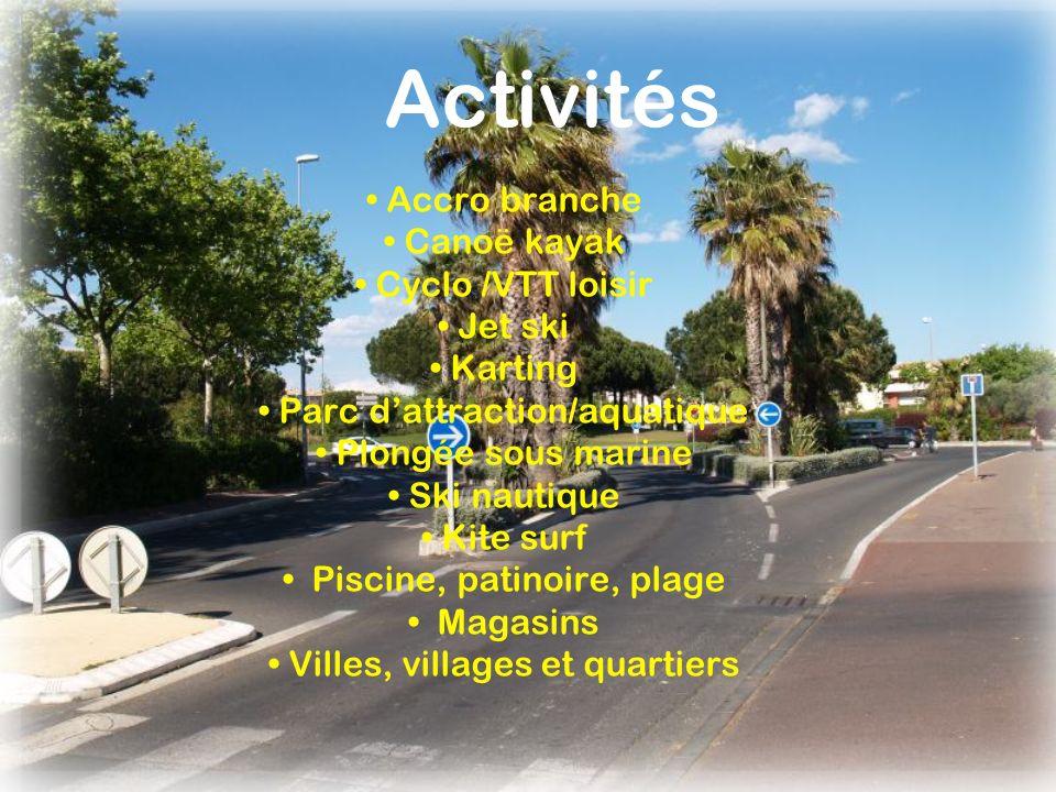 Activités • Accro branche • Canoë kayak • Cyclo /VTT loisir • Jet ski
