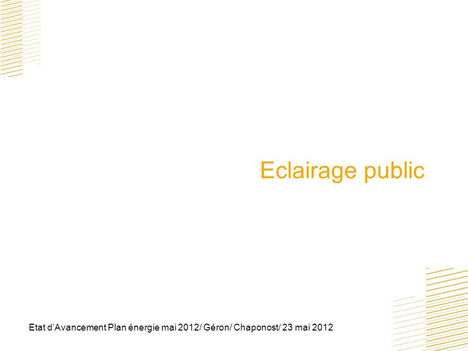 Eclairage public Etat d'Avancement Plan énergie mai 2012/ Géron/ Chaponost/ 23 mai 2012