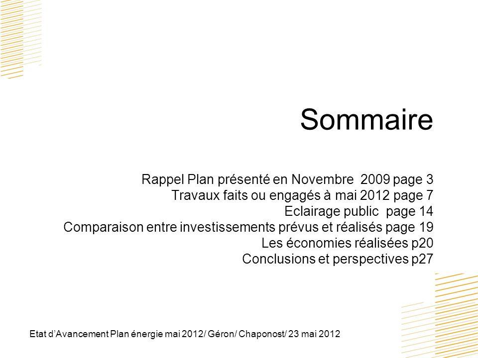 Sommaire Rappel Plan présenté en Novembre 2009 page 3 Travaux faits ou engagés à mai 2012 page 7 Eclairage public page 14 Comparaison entre investissements prévus et réalisés page 19 Les économies réalisées p20 Conclusions et perspectives p27