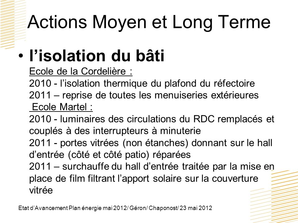 Actions Moyen et Long Terme