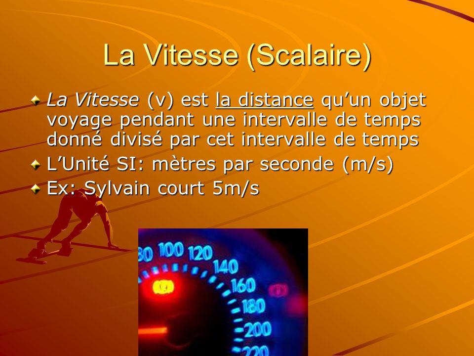 La Vitesse (Scalaire) La Vitesse (v) est la distance qu'un objet voyage pendant une intervalle de temps donné divisé par cet intervalle de temps.