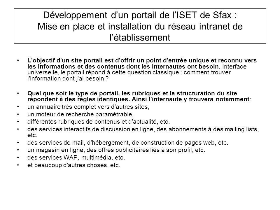 Développement d'un portail de l'ISET de Sfax : Mise en place et installation du réseau intranet de l'établissement