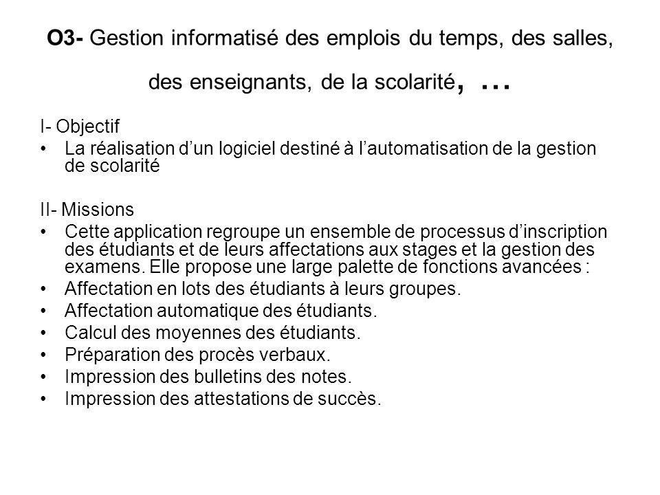 O3- Gestion informatisé des emplois du temps, des salles, des enseignants, de la scolarité, ...