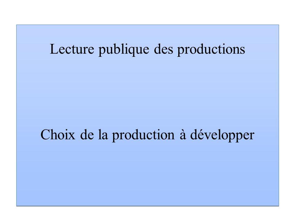 Lecture publique des productions