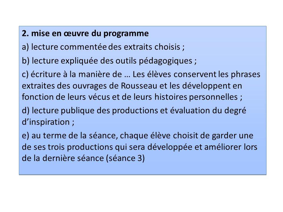 2. mise en œuvre du programme