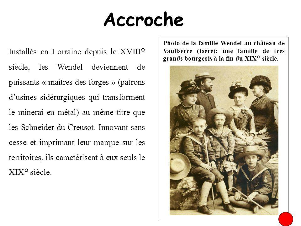 Accroche Photo de la famille Wendel au château de Vaullserre (Isère): une famille de très grands bourgeois à la fin du XIX° siècle.