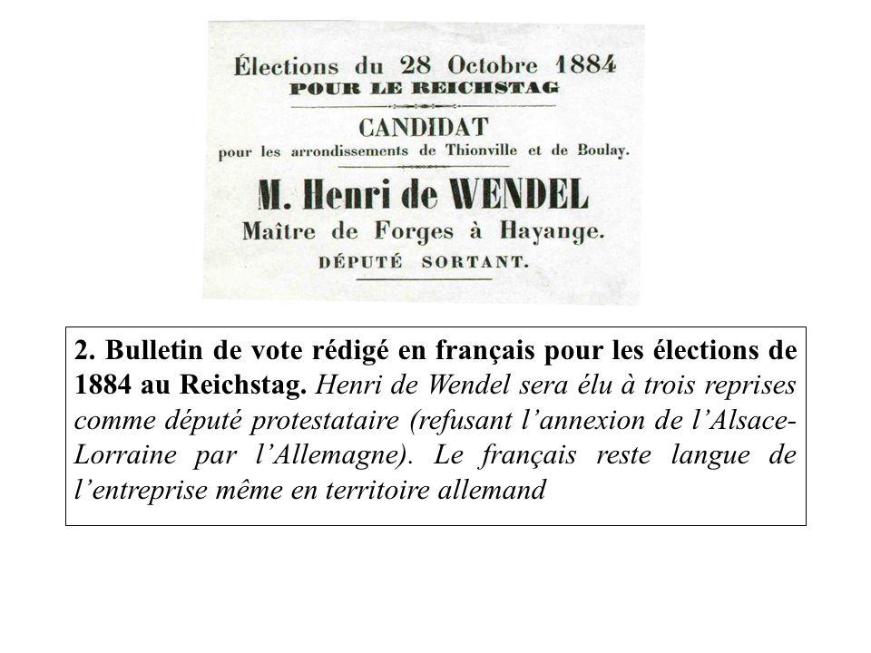 2. Bulletin de vote rédigé en français pour les élections de 1884 au Reichstag.