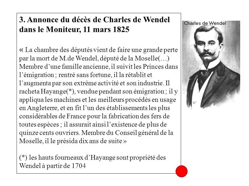 3. Annonce du décès de Charles de Wendel dans le Moniteur, 11 mars 1825