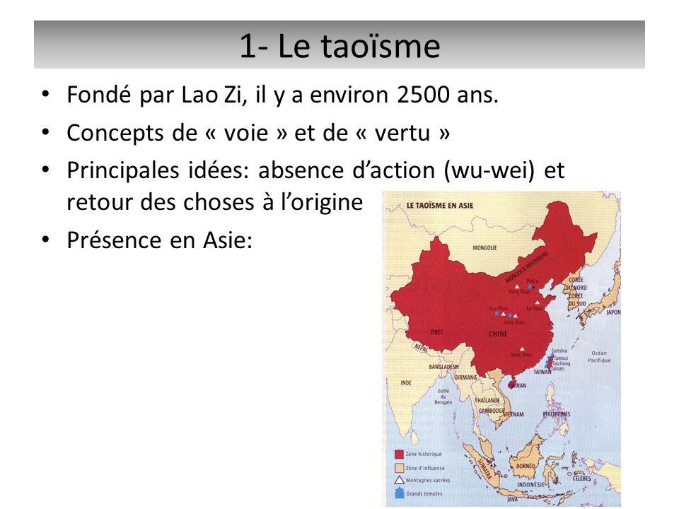 1- Le taoïsme Fondé par Lao Zi, il y a environ 2500 ans.