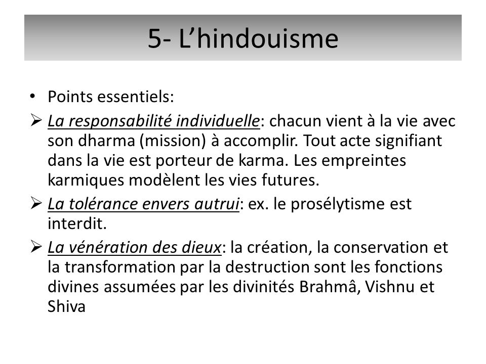 5- L'hindouisme Points essentiels: