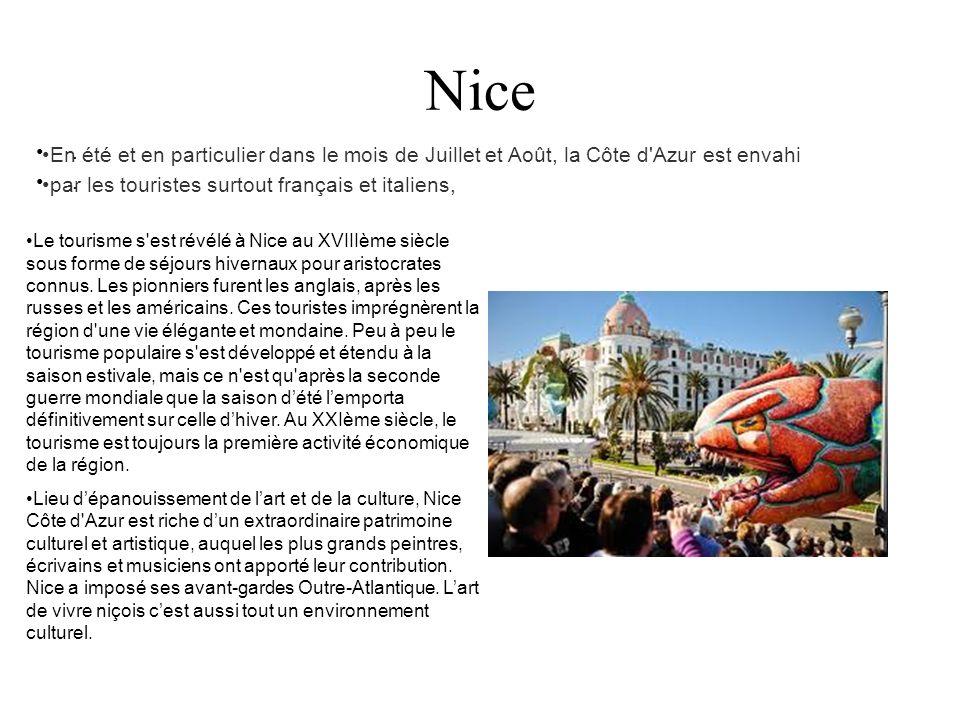 Nice . En été et en particulier dans le mois de Juillet et Août, la Côte d Azur est envahi. par les touristes surtout français et italiens,