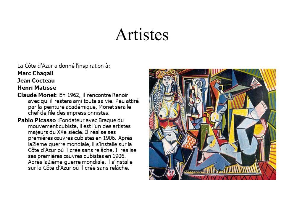 Artistes La Côte d Azur a donné l'inspiration à: Marc Chagall