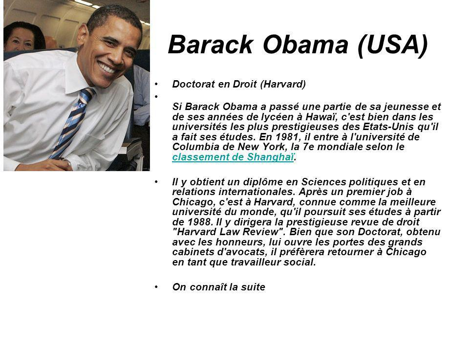 Barack Obama (USA) Doctorat en Droit (Harvard)