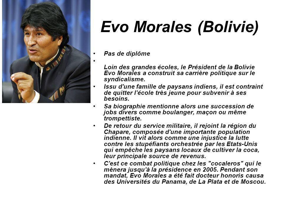 Evo Morales (Bolivie) Pas de diplôme