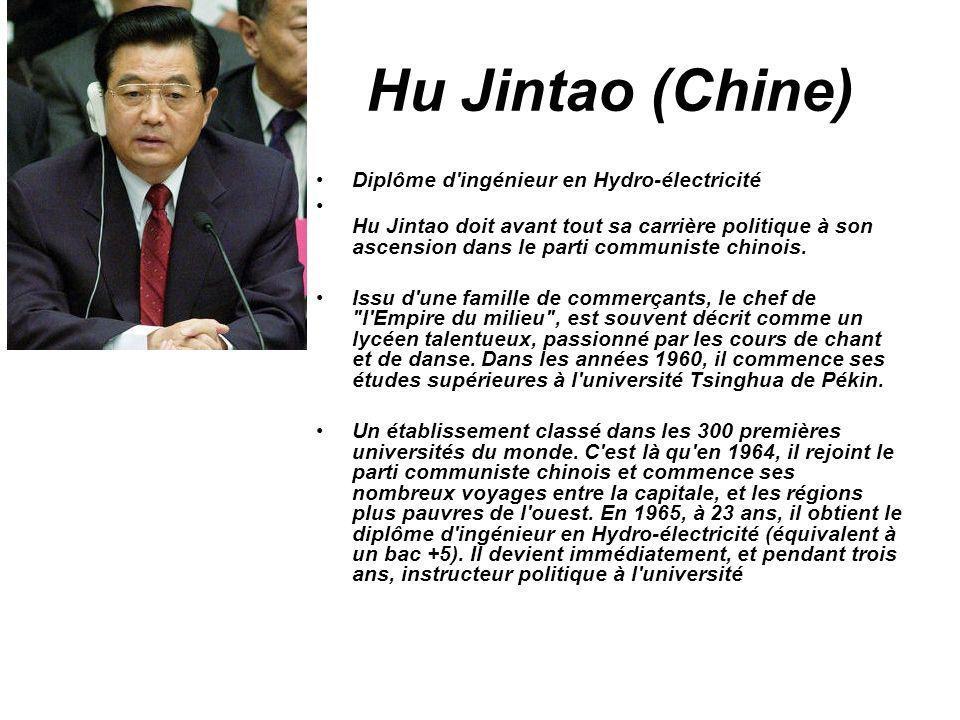 Hu Jintao (Chine) Diplôme d ingénieur en Hydro-électricité
