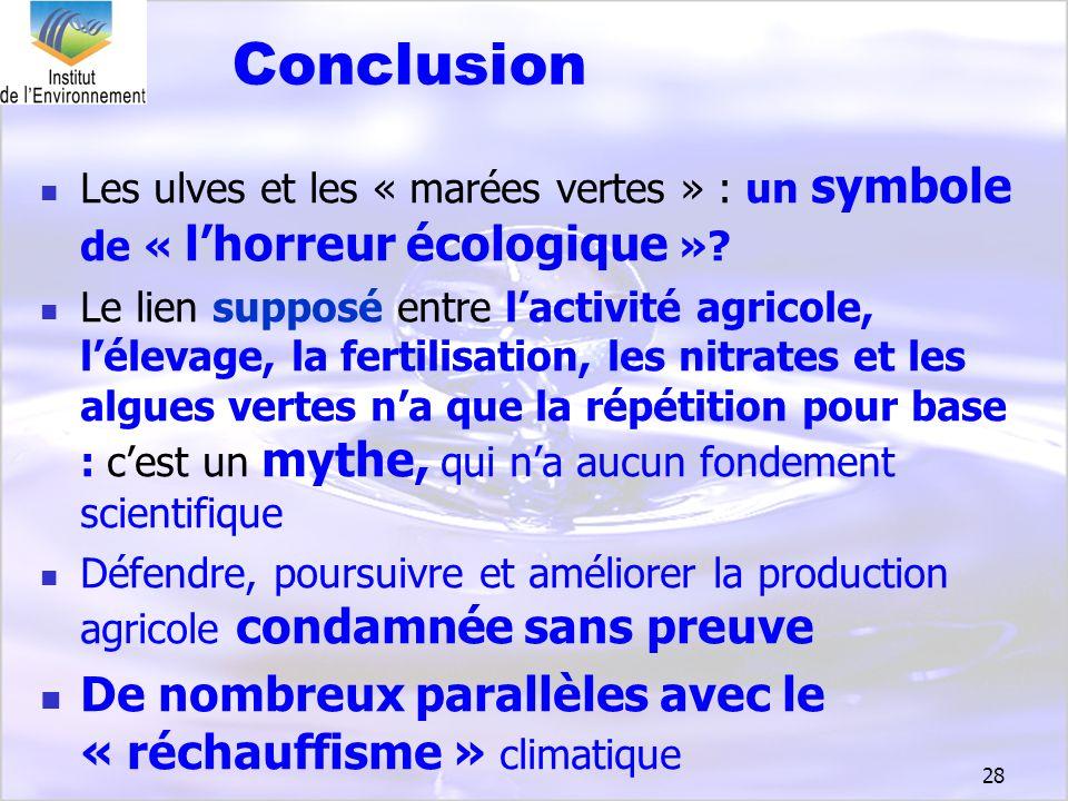 Conclusion De nombreux parallèles avec le « réchauffisme » climatique