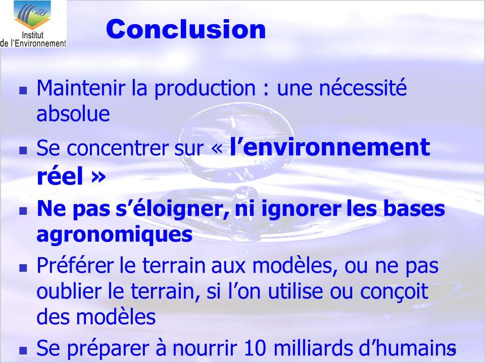 Conclusion Maintenir la production : une nécessité absolue