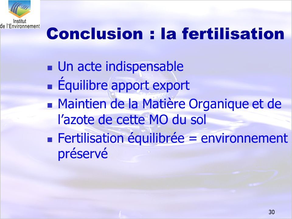 Conclusion : la fertilisation