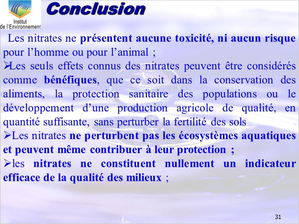 Conclusion Les nitrates ne présentent aucune toxicité, ni aucun risque pour l'homme ou pour l'animal ;