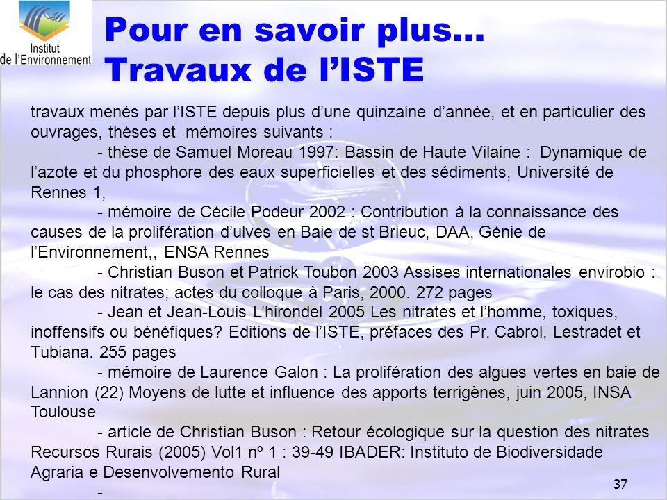 Pour en savoir plus… Travaux de l'ISTE