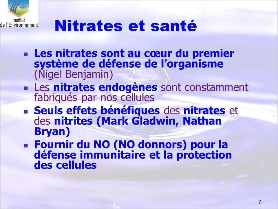 Nitrates et santé Les nitrates sont au cœur du premier système de défense de l'organisme (Nigel Benjamin)