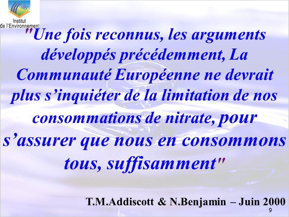 Une fois reconnus, les arguments développés précédemment, La Communauté Européenne ne devrait plus s'inquiéter de la limitation de nos consommations de nitrate, pour s'assurer que nous en consommons tous, suffisamment