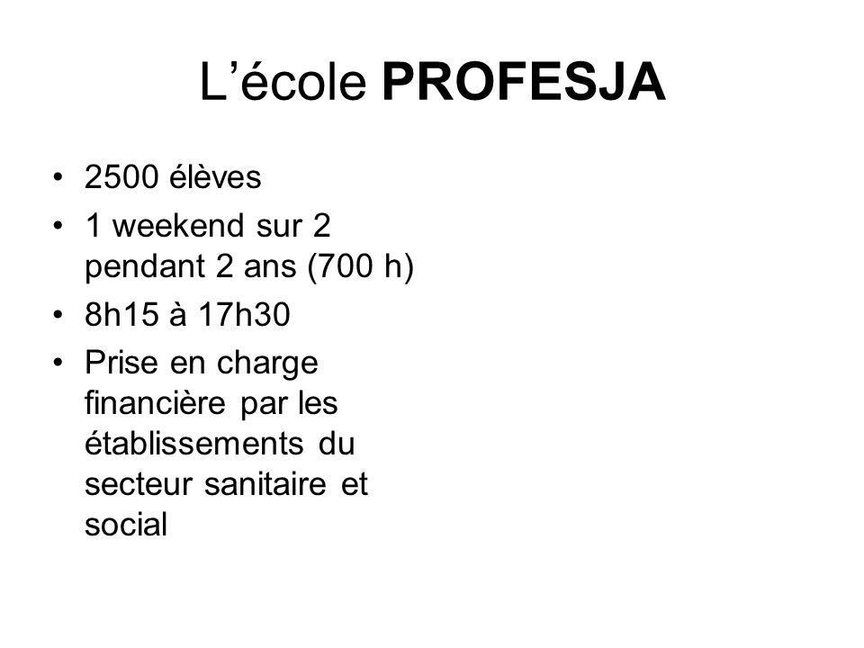 L'école PROFESJA 2500 élèves 1 weekend sur 2 pendant 2 ans (700 h)