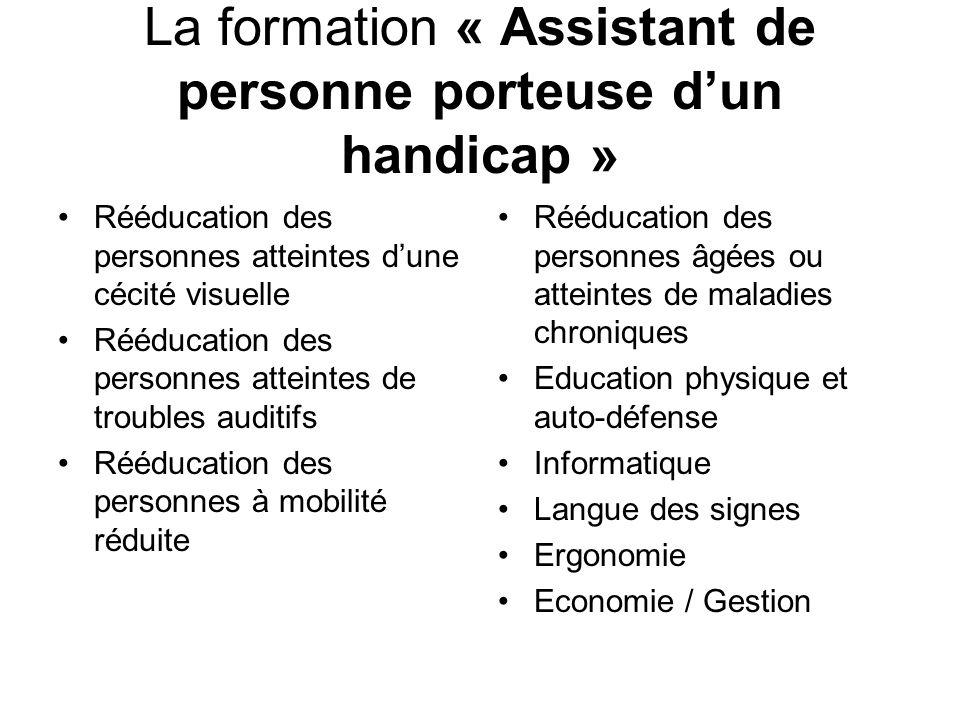 La formation « Assistant de personne porteuse d'un handicap »
