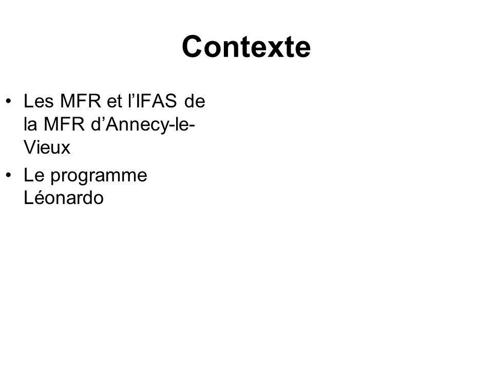 Contexte Les MFR et l'IFAS de la MFR d'Annecy-le-Vieux