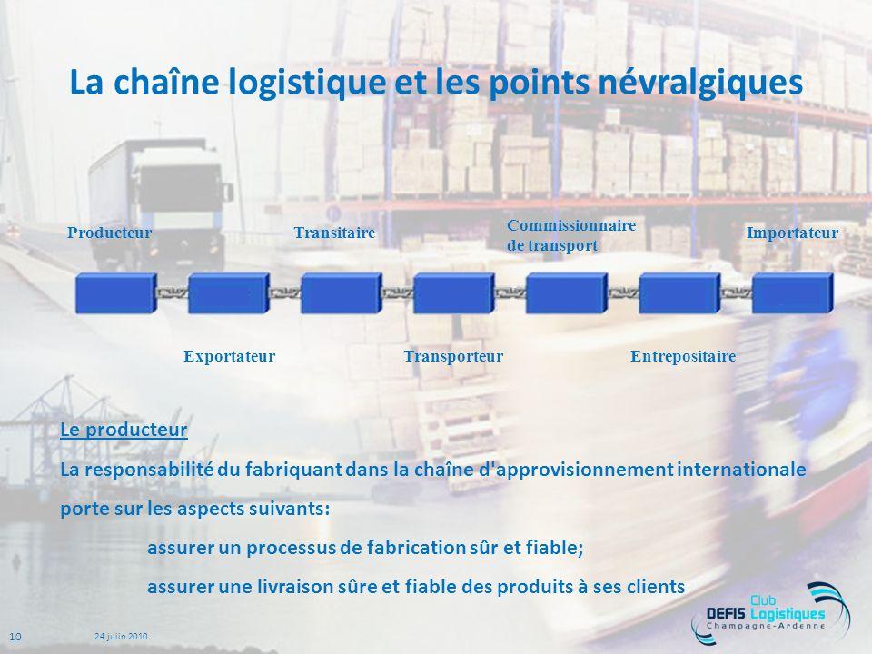 La chaîne logistique et les points névralgiques