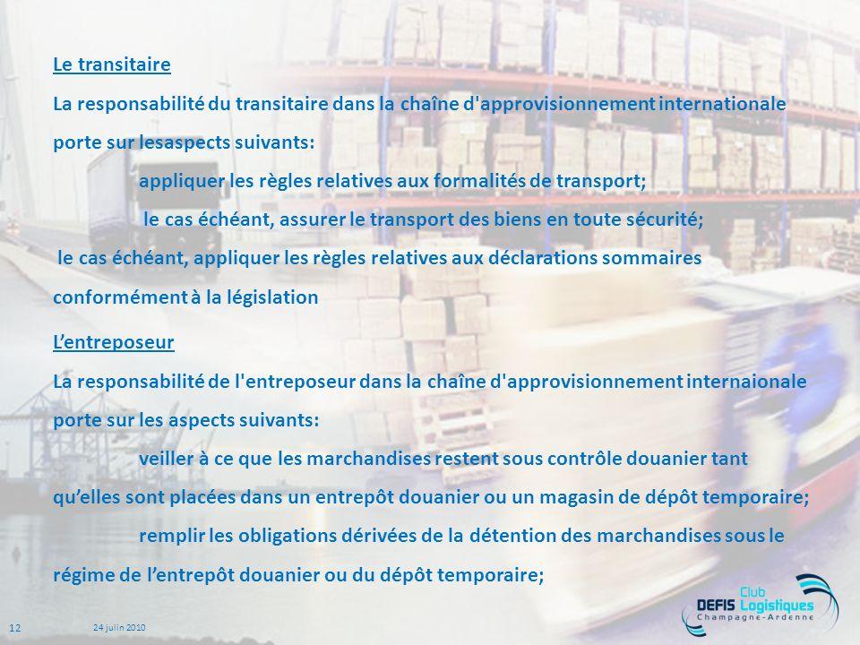 Le transitaire La responsabilité du transitaire dans la chaîne d approvisionnement internationale porte sur lesaspects suivants: