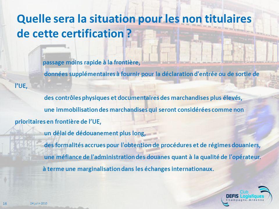 Quelle sera la situation pour les non titulaires de cette certification