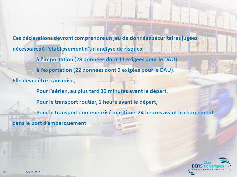 Ces déclarations devront comprendre un jeu de données sécuritaires jugées nécessaires à l'établissement d'un analyse de risques : à l'importation (28 données dont 11 exigées pour le DAU) à l'exportation (22 données dont 9 exigées pour le DAU).