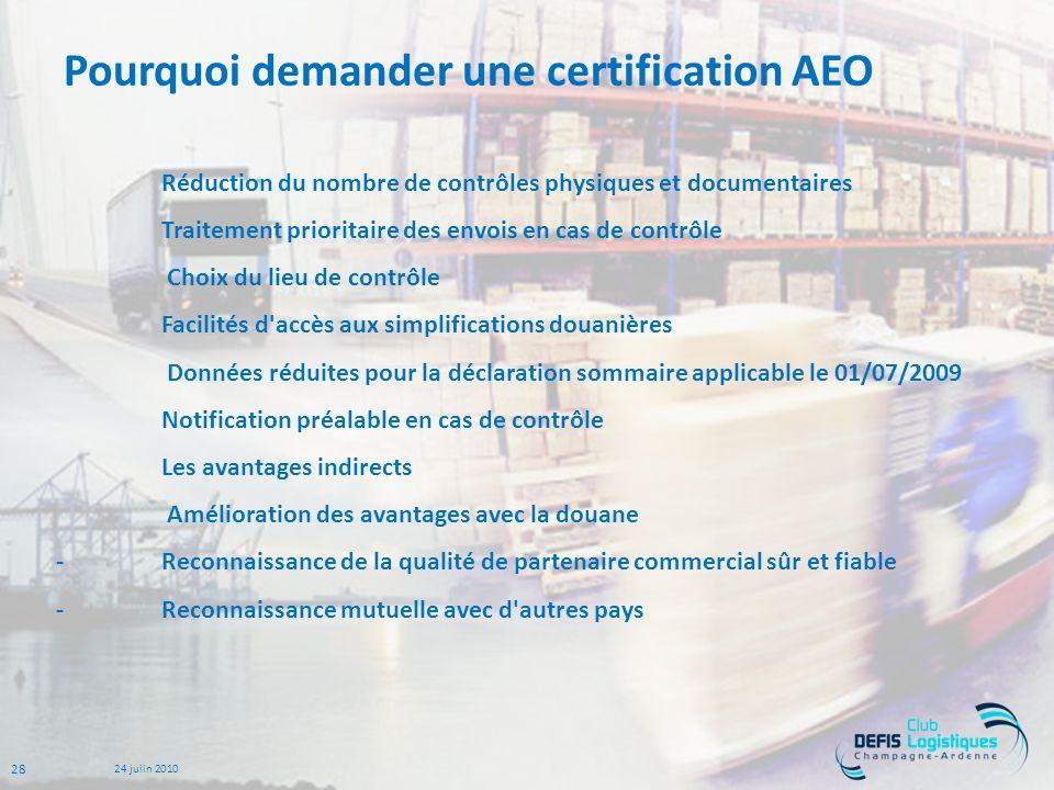 Pourquoi demander une certification AEO