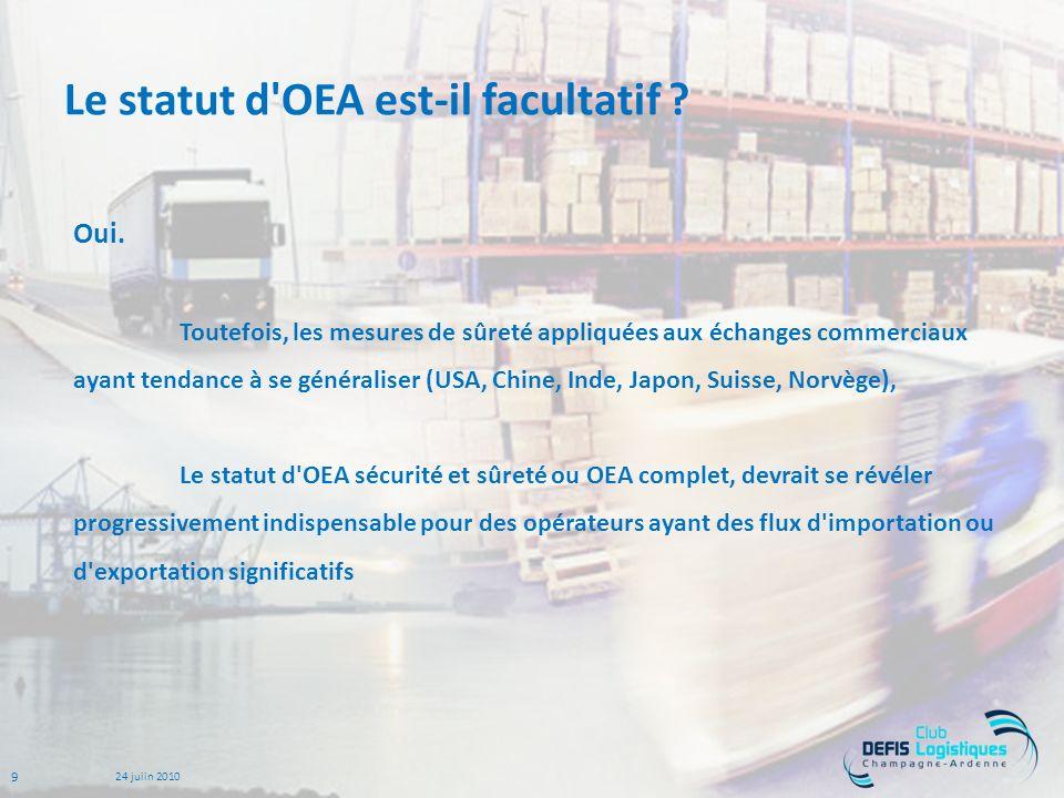 Le statut d OEA est-il facultatif