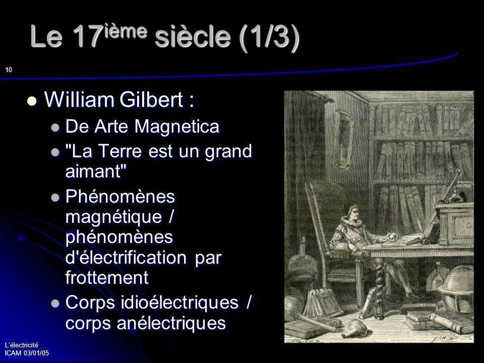 Le 17ième siècle (1/3) William Gilbert : De Arte Magnetica