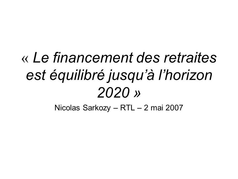« Le financement des retraites est équilibré jusqu'à l'horizon 2020 »